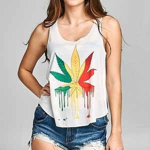 Tops - Colorful Cannabis Leaf tank top